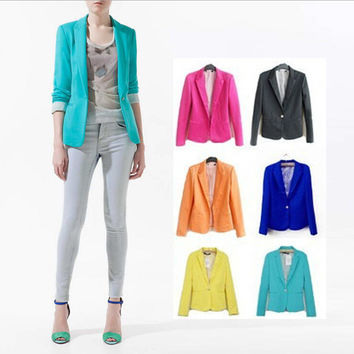 Hot Sale Ladies Blazers Women Suit Foldable Long Sleeve Lapel Coat Lined With Striped Single Button Vogue Jackets XS-XL