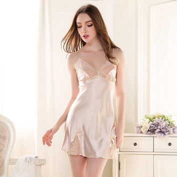 lace satin nightgowns women sleeping dress silk nightie for women sleeveless silk nightgowns sexy sleepshirts silk nighty kit