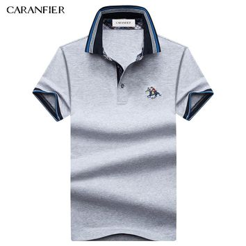 CARANFIER 2017 Summer Men Polo Shirt Horserace Badge Breathable Anti-pilling Cool For Men Designer Cotton Golftennis
