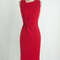 Long Sleeveless Sheath Sassy to See Dress in Red