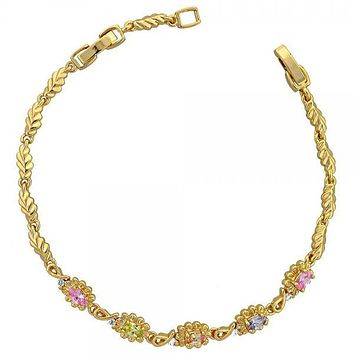 Gold Layered 03.60.0040 Tennis Bracelet, Flower and Leaf Design, with Multicolor and White Cubic Zirconia, Polished Finish, Gold Tone