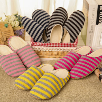 Cotton Stripes Soft Home Slippers [8102200001]