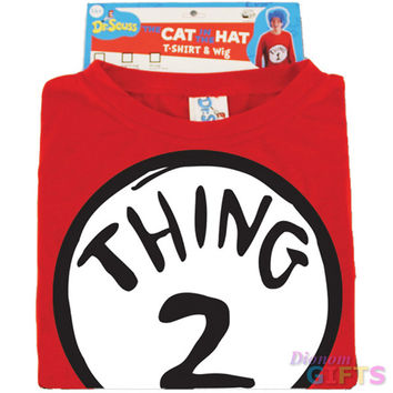 Men's Costume Shirt: Dr. Seuss Thing 2-with Wig|S/M