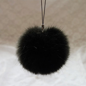 Rabbit Fur Ball Key Chains Mobile Phone Plug Backpack Bags Decorations Charm Key Ring Gift CF