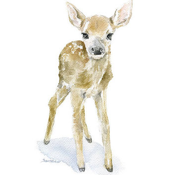 Deer Fawn Watercolor Painting - Giclee Print Reproduction - 8x10 / 8.5x11 - Nursery Art Woodland Animal
