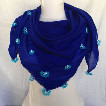 Royal Deep Blue Scarf Blue Shawl Ethnic Turkish Modern Scarf With Beads Mother's Day Gift Idea For Her