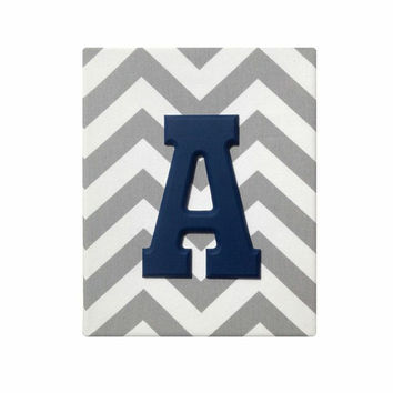 Upholstered Wood Initial Wall Letter / Gray White Chevron / Baby Boy Navy Blue Nursery Decor Name / Premier Prints Canvas Twill Storm
