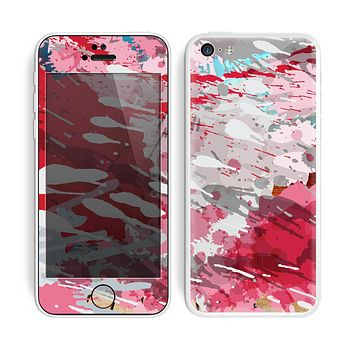 The Abstract Red, Pink and White Paint Splatter Skin for the Apple iPhone 5c