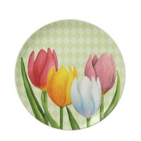 Spring Tulips Plate from Zazzle.com