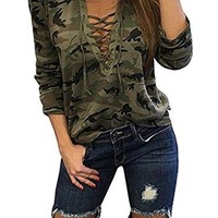 Sweetnight Women's Long Sleeve Camouflage V Neck Cross Front Lace Up Casual Shirt Blouse Tops