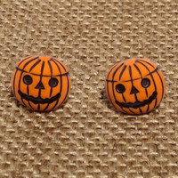 Jack o Lantern Earrings Free Shipping Orange Happy Smiling Pumpkin Carved Face Fall Autumn Harvest Halloween Vegetable Accessory Seasonal