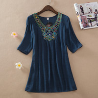 Stone Bead Patchwork Neckline Short Sleeve Casual Dress