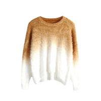 Brown Gradient Knitted Sweater with Fluffy Mohair Batwing Sleeve Round Neck Loose Fit Pullover