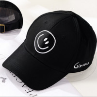 Black Smiling Embroidered Baseball Cap Hat