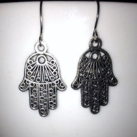 SALE: Silver Hamsa Hands Charm Earrings