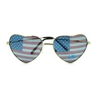 Patriotic American Flag In-Print Heart Shaped Wire Rim Sunglasses