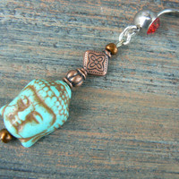 buddha belly ring COPPER  buddah howlite turquoise  in Indie zen yoga belly dancer fantasy gypsy hippie morrocan boho and hipster style