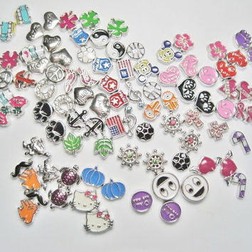 Wholesale Lot of 100 Floating Charms - High Quality Enamel - Memory Lockets