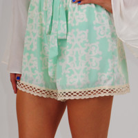 Break Away Shorts: Mint/Cream