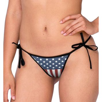 Stars and Stripes American Flag Swimsuit Bikini Bottom S All Over Print by TooLoud