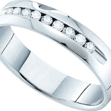 14k White Gold Womens Round Channel-set Diamond Smooth Comfort-fit Wedding Anniversary Band 1/2 Cttw