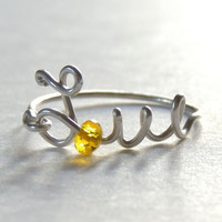 uppercase love wire ring  yellow crystal faceted  by keoops8