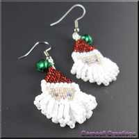 Santa Baby Christmas Beadwork Dangle Seed Bead Earrings