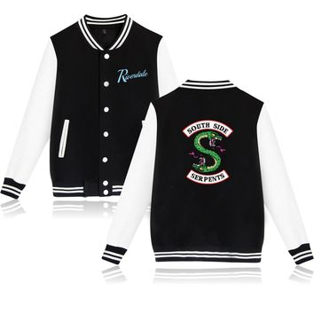 RIVERDALE Hoodies Hot TV Show Baseball Jackets men women Men's Kpop Hip Hop Snake SOUTH SIDE SERPENTS Hoodies Sweatshirt Coat