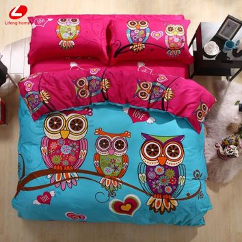 Lifeng Home 2017 Owl bedding set 3/4/6 pcs Children bedding Adult king duvet cover set 100% cotton bed linens 3D animal bed set