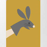 Rabbit Puppet Print, Glove Puppet Illustration, Childrens wall art, Girls bedroom Print, Bunny Print, Mustard and Grey, Cute Rabbit Print