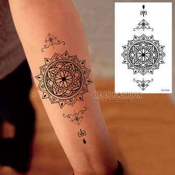 1piece Waterproof Temporary Tattoo Stickers Men Women big Scar Cover Flash Tatoo Compass Design black Henna Tattoos arm QS-C006