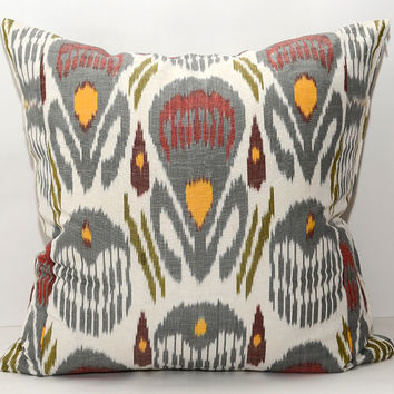 20x20 fully hand woven hand dyed silk cotton ikat pillow cover. grey pillow