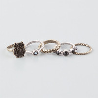 Full Tilt 5 Piece Owl/Stone Rings Metal  In Sizes