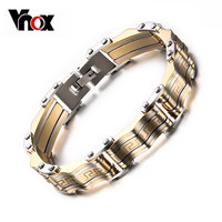 New Brand Men's Bracelet Bangle Gold Plated Stainless Steel Male Jewelry Charming Great Wall Carving Bracelet For Man