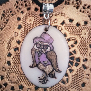 handmade OWL animal necklace SOPHISTICRITTER  handpainted animal jewelry pendant (HootyHoo!) oval