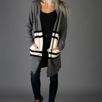 Charcoal and Ivory Varisty Stripe Cardigan