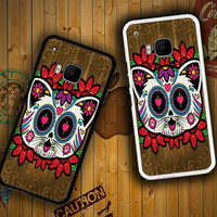 Candy Skull Cat illustration Y2046HTC One S X M7 M8 M9, Samsung Galaxy Note 2 3 4 S3 S4 S5 (Mini) S6 S6 Edge