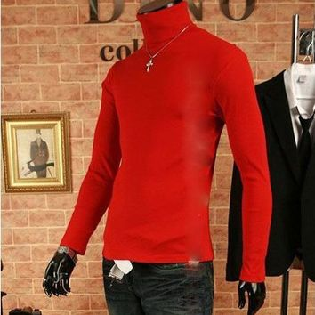 Free shippingA new brand BOYTHOR Private custom Men's long sleeve T-shirt male tight turtleneck thermal 100% cotton basic shirt