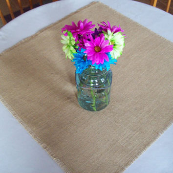 Burlap Table Square 24 x 24 -Table Overlay - Burlap Table Topper