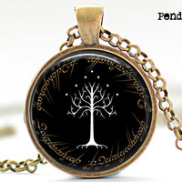 LOTR Pendant,The White Tree Pendant,Flag of Gondor Pendant,Lord of the rings,flag of gondor Pendant, lord of the rings pendant,tree pendant