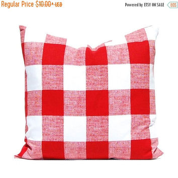 SALE Red Pillow Covers, Buffalo Check PIllow Covers, Plaid Pillow Covers, Decorative Pillow Covers, Throw Pillow Covers, Yellow Cushion