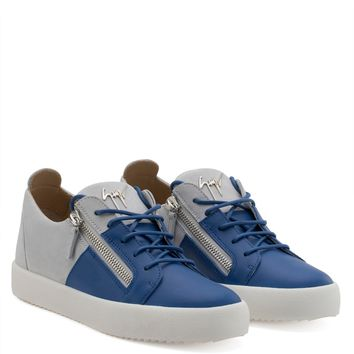 Giuseppe Zanotti Gz Double Blue Calf Leather And White Suede Low-top - Best Deal Online