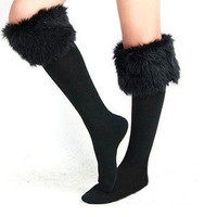 Sexy Warm Cotton Half Long Socks Faux Fur Cover Boot Shoes Stockings 4 colors
