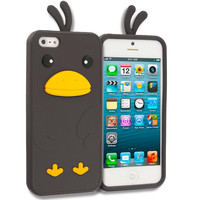 Black Chicken Silicone Design Soft Skin Case Cover for Apple iPhone 5 / 5S