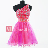 2012 Pretty  Asymmetrical One-shoulder Applique Tulle Prom Homecoming Dresses