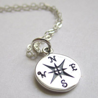 Small sterling silver Compass Necklace, Find your true north, Silver Whisper Chain