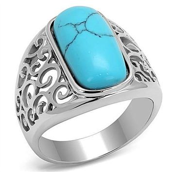 WildKlass Stainless Steel Ring High Polished (no Plating) Men Synthetic Sea Blue