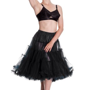 * 3 tier petticoat.* Ruffle edge on hem.* Elasticated waistband-very stretchy!* 2 layers on each tier.* Very full.* Fits Hell Bunny 50's style dresses.