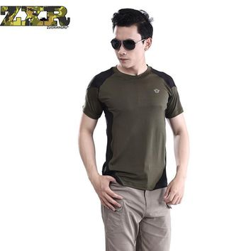 Zuoxiangru Man Outdoor T-shirt Men Cotton Army Tactical Combat T Shirt Military Sport Hiking Camp Mens Huking T Shirts Tees