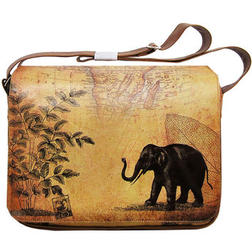 Elephant Vegan Leather Large Messenger/Laptop Bag